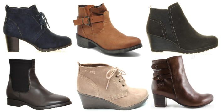 A selection of Marco Tozzi ankle boots in-store today (L-R) : Block heel ankle boot €49.95, Strap ankle boot €84.95, Wedge ankle boot €49.95, Chelsea Boot €110, Wedge lace-up boot €44.95, leather boot with buckle detail €89.95.