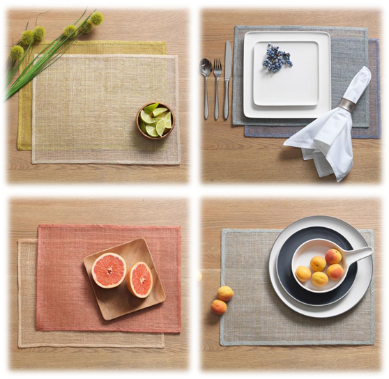 Abaca Placemats €3.95 each (available in light green, natural, mustard, coastal blue, peach and sunset).