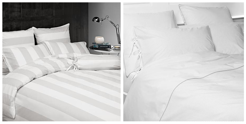 The Wide Stripe Retreat Duvet Set and Boston Bed Linen Collection.