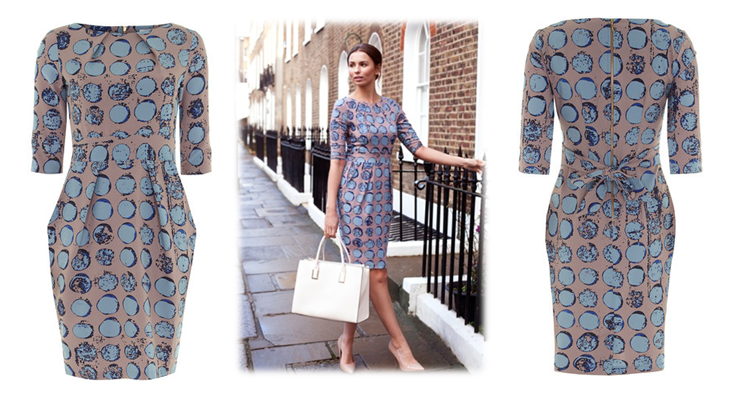 Lovely Mink Dress With A Screen Print Effect Circle Pattern   Available In Store  Today.