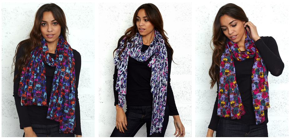 Sneak-peek of our new collection of scarves.