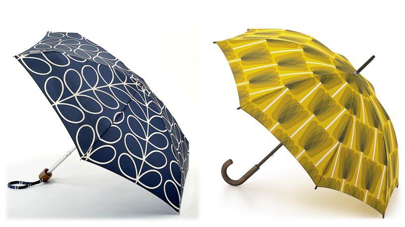 Orla Kiely Leaf Print Umbrella (Navy) €41.95, Orla Kiely Tulip Print Umbrella (Green) €55.00.
