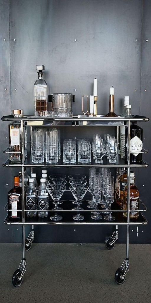 Vintage inspired for the modern mixologist, the cocktail cart is a sophisticated addition to the man-cave.