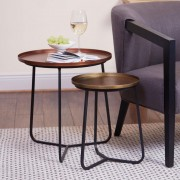 Copper & Brass Set Of 2 Accent Tables