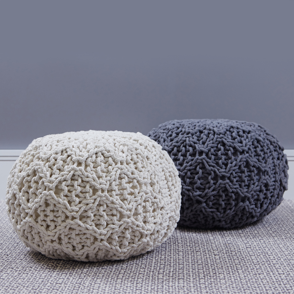 Hand Knit Round Pouf,€59.95 each