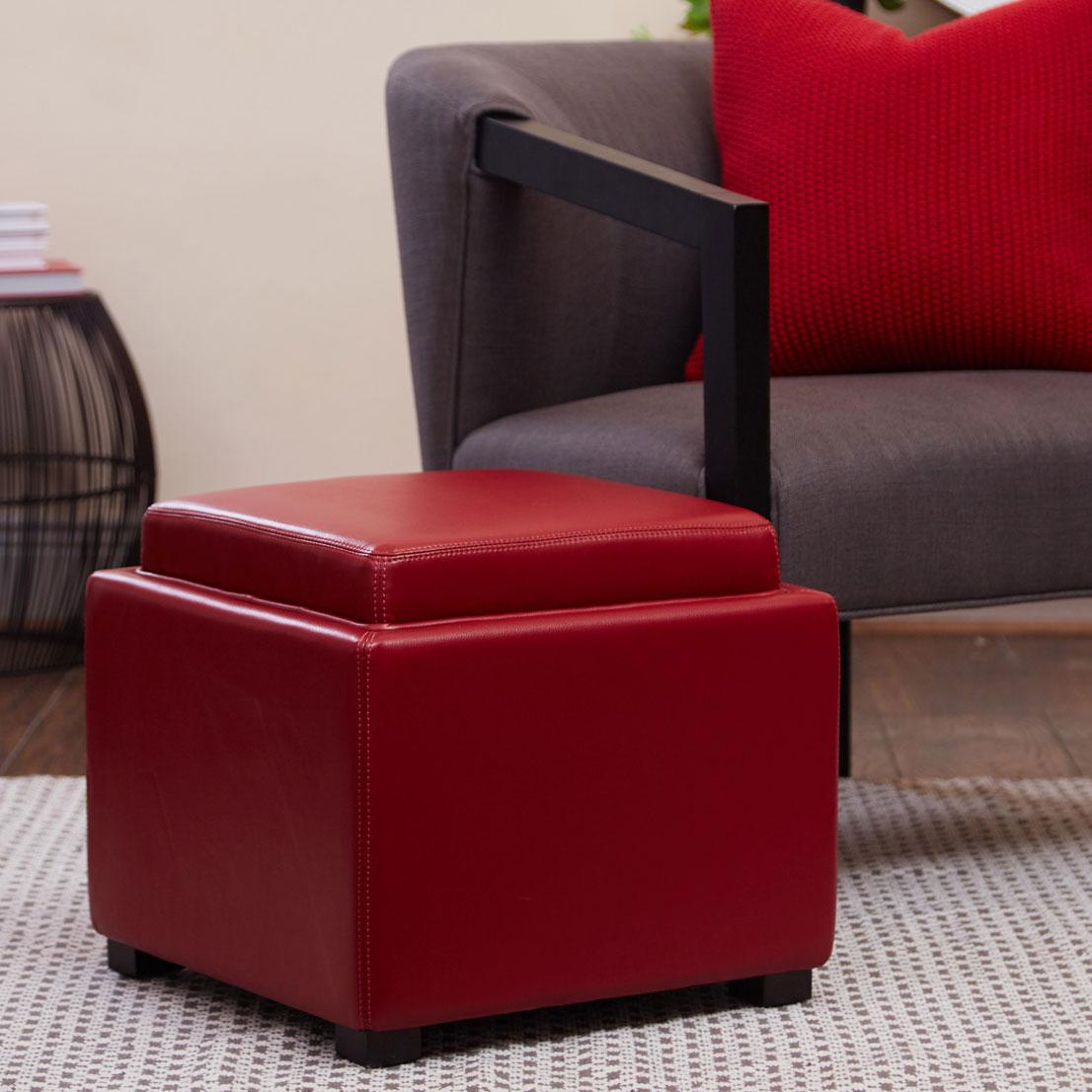Davis Storage Ottoman Red